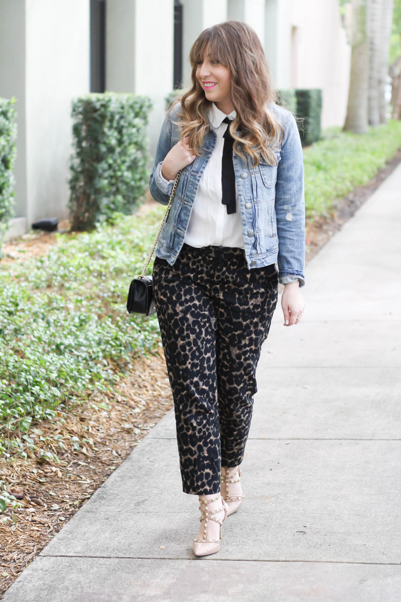 Choies bow blouse, j crew factory jean jacket, old navy harper pant in leopard, sole society tiia-2