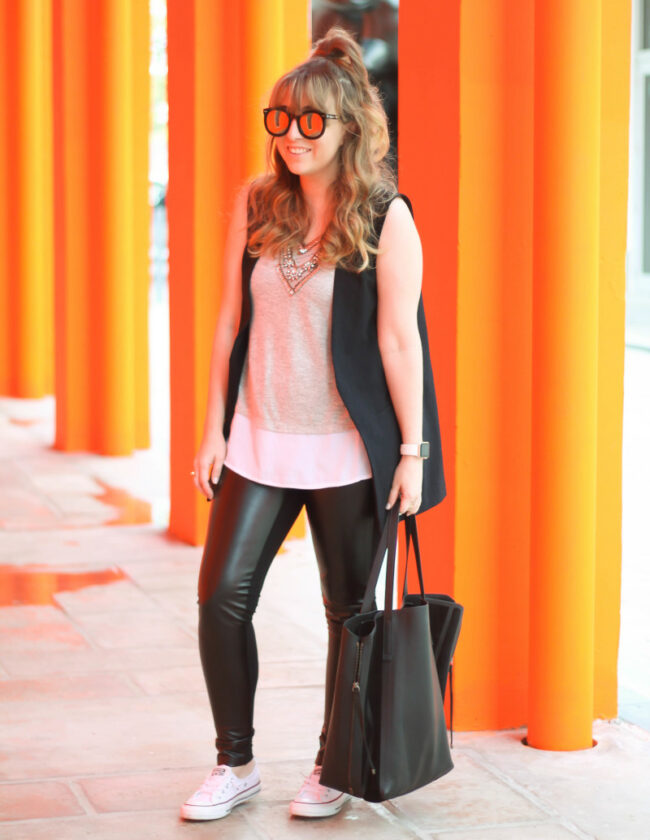 Leather leggings, sleeveless boyfriend blazer, layered tank, Converse-2