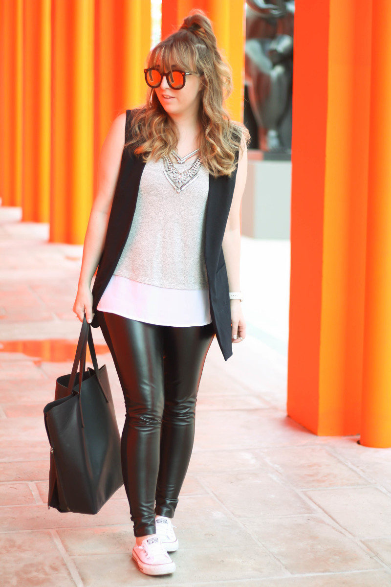 Leather leggings, sleeveless boyfriend blazer, layered tank, Converse-6