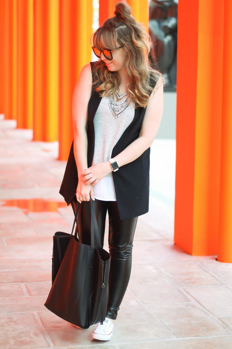 Leather leggings, sleeveless boyfriend blazer, layered tank, Converse-7