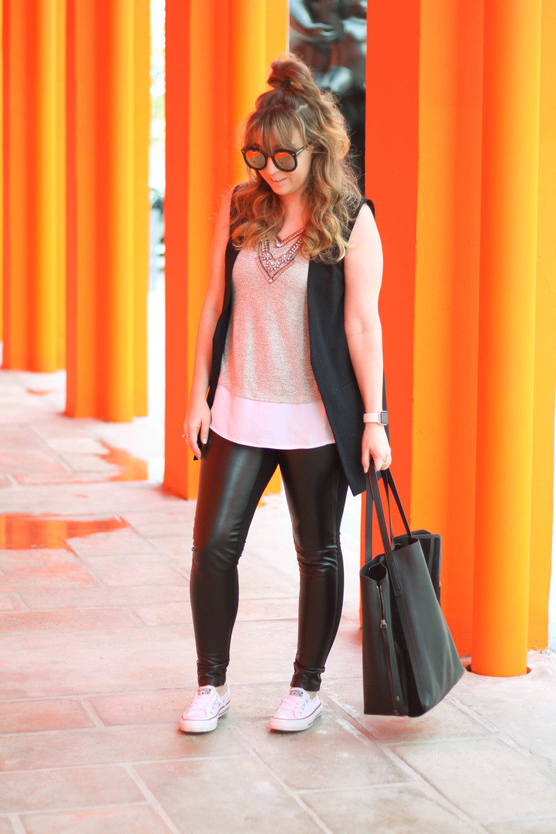 Leather leggings, sleeveless boyfriend blazer, layered tank, Converse