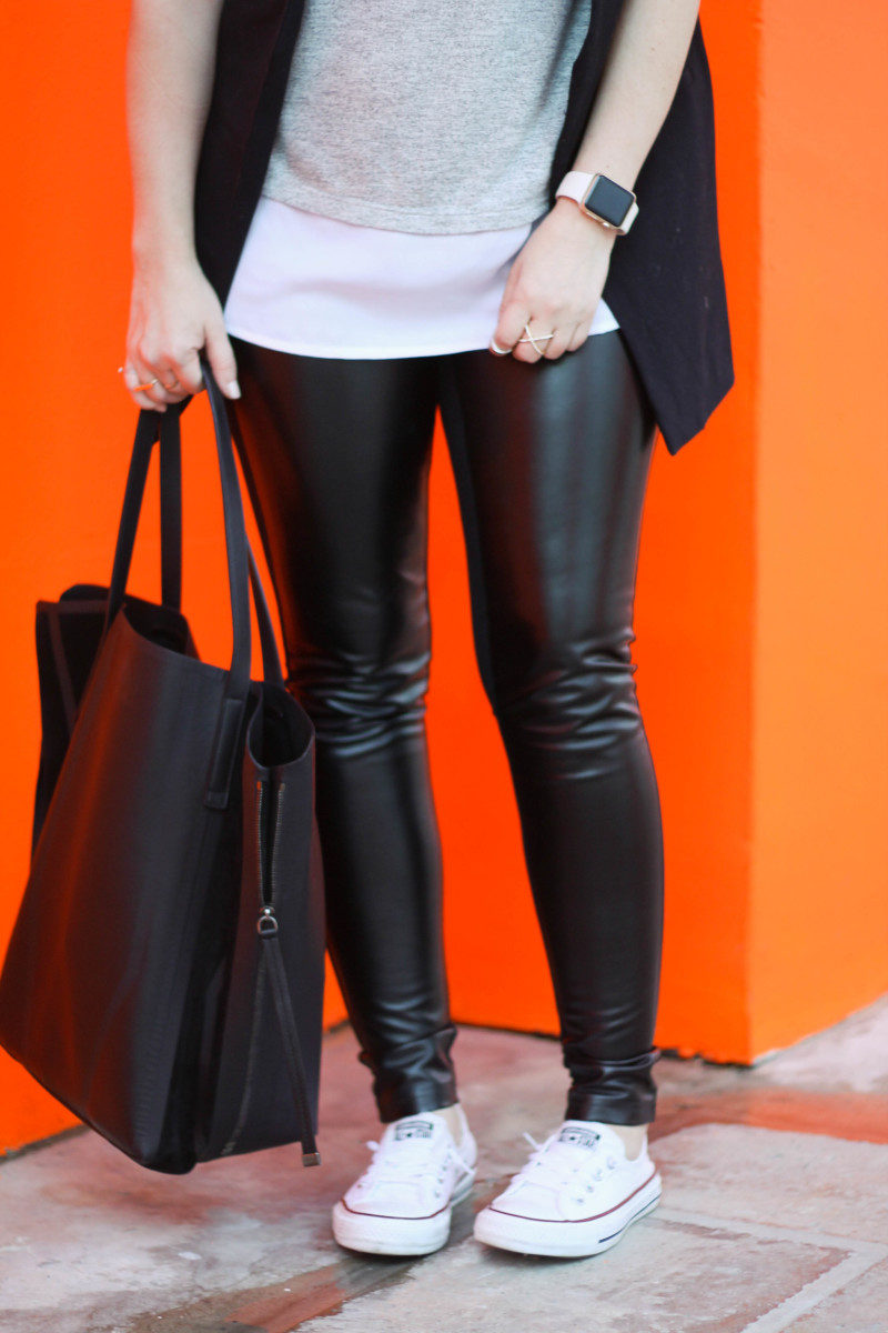 Leather leggings, sleeveless boyfriend blazer, layered tank, Converse-9