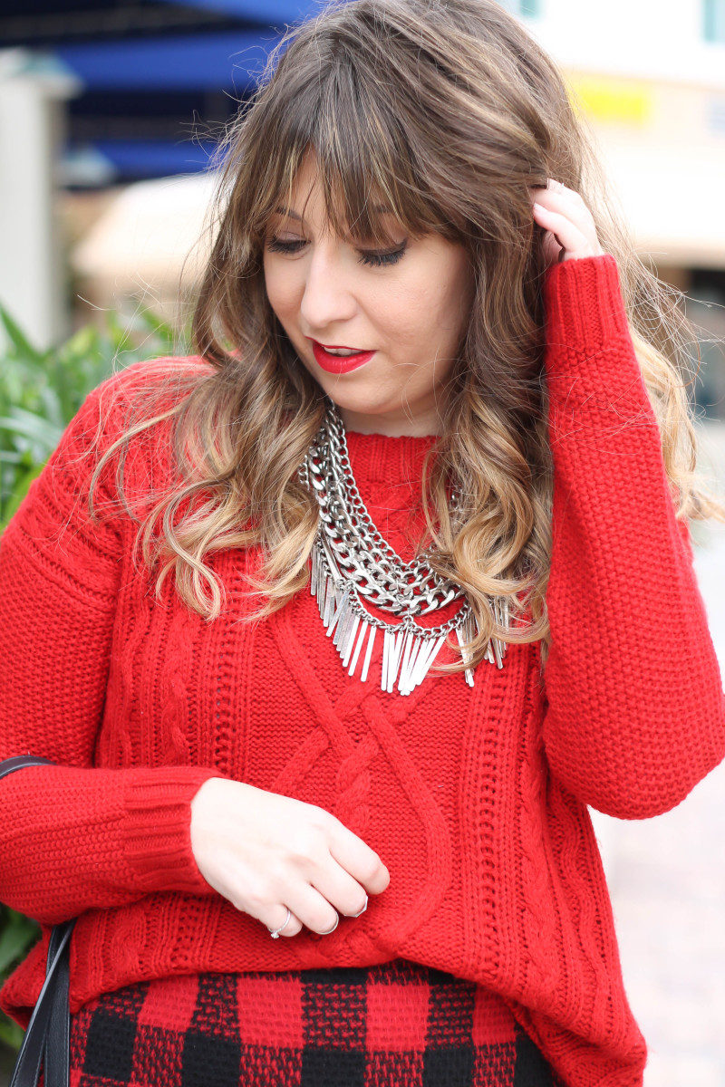Red sweater, red buffalo plaid skirt-10