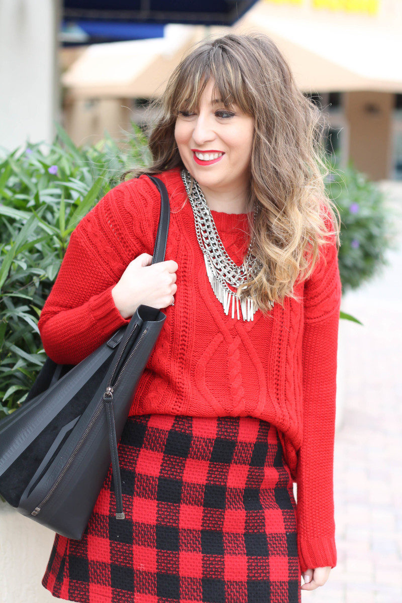Red sweater, red buffalo plaid skirt-11