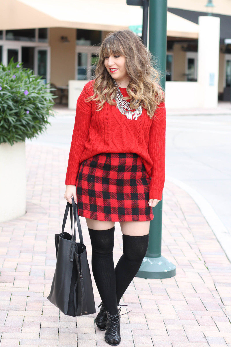 Red sweater, red buffalo plaid skirt-2