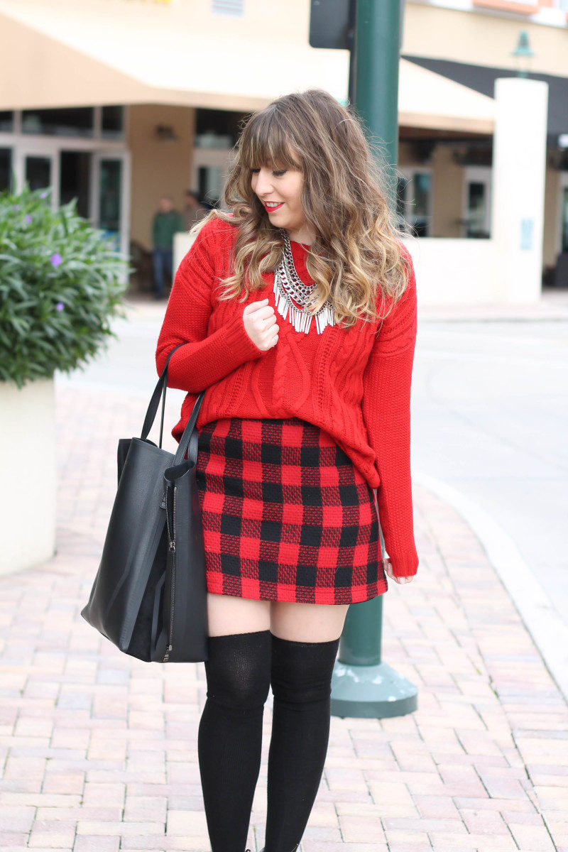 Red sweater, red buffalo plaid skirt-6
