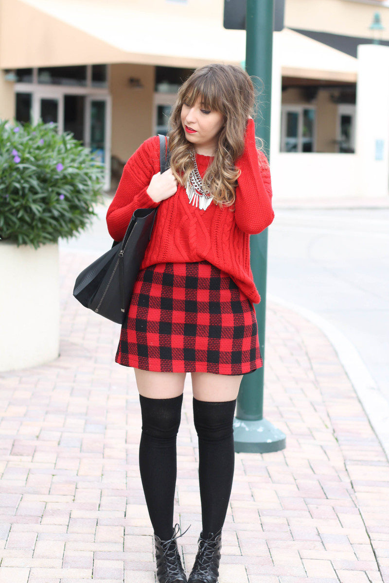 Red sweater, red buffalo plaid skirt-9