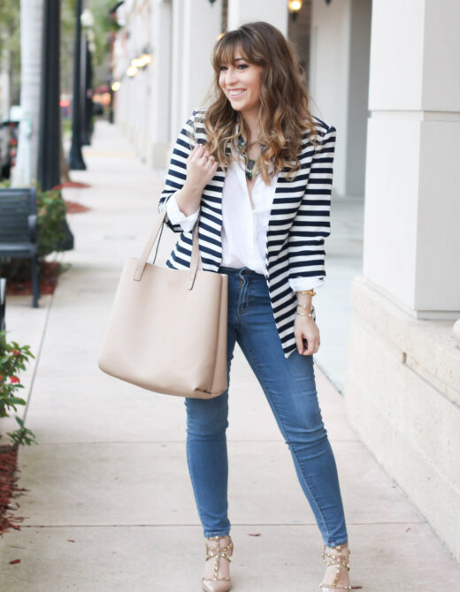 Stripe blazer, white button down, skinny jeans-5