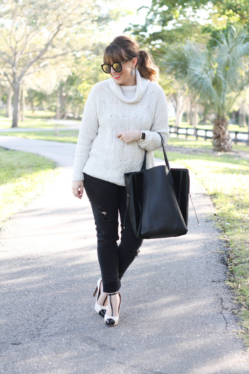 Turtleneck sweater, distressed black jeans, cap toe pumps-2