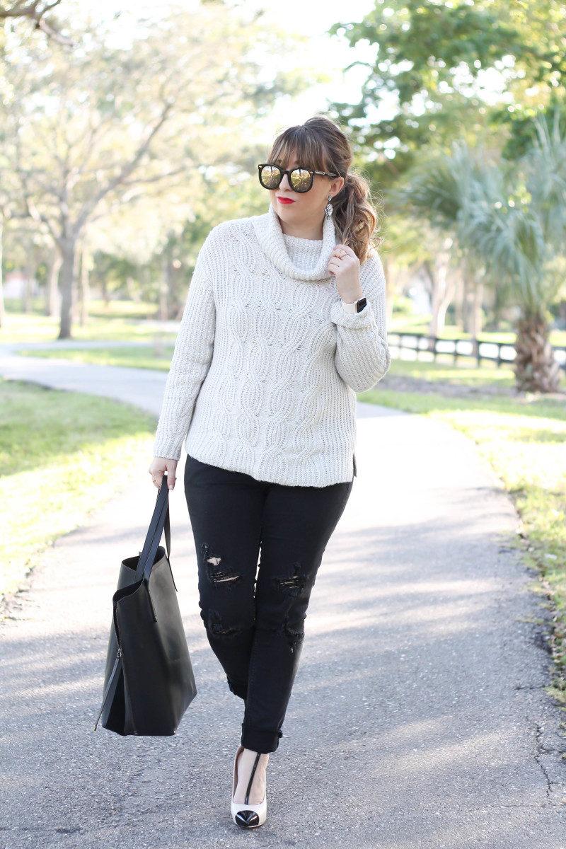 Turtleneck sweater, distressed black jeans, cap toe pumps-3
