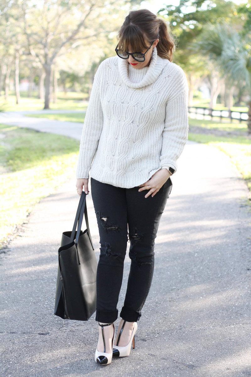 Turtleneck sweater, distressed black jeans, cap toe pumps-5
