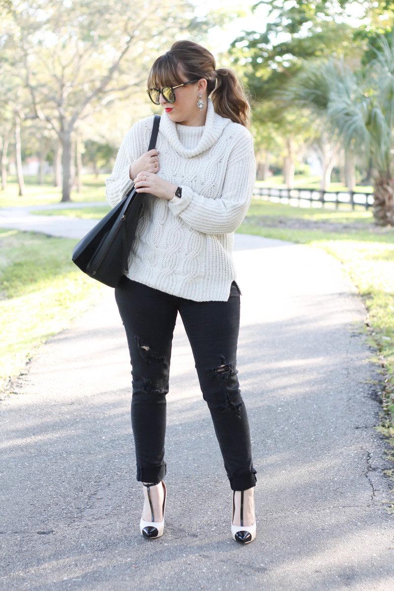 Turtleneck sweater, distressed black jeans, cap toe pumps-7