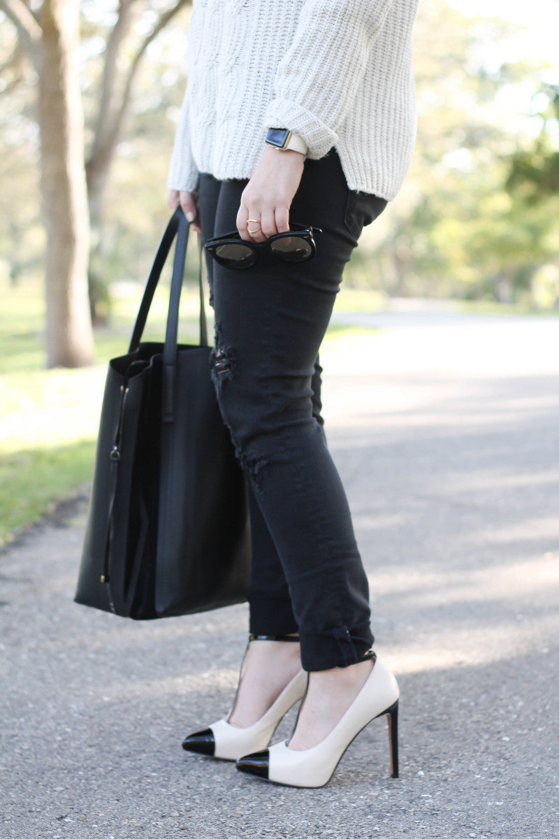 Turtleneck sweater, distressed black jeans, cap toe pumps-9