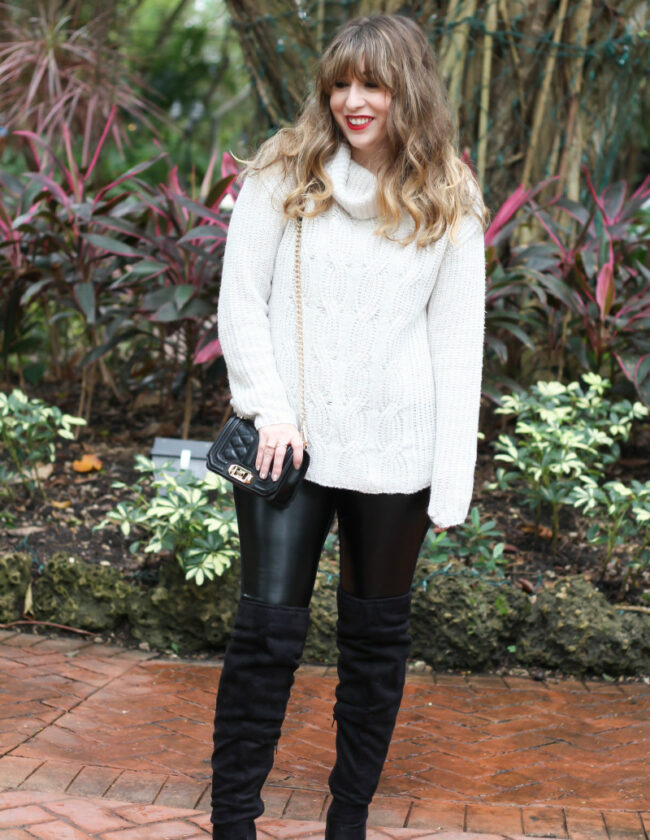 Turtlneck sweater, leather leggings and over the knee boots-3