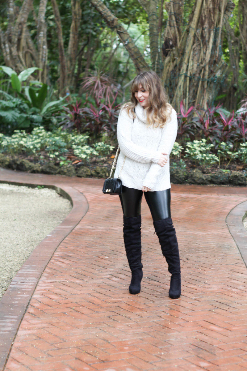 Turtlneck sweater, leather leggings and over the knee boots-4