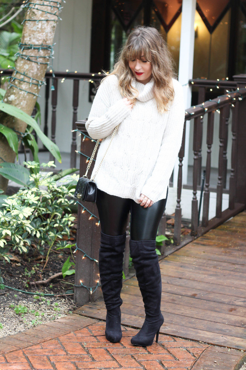 Turtlneck sweater, leather leggings and over the knee boots-5