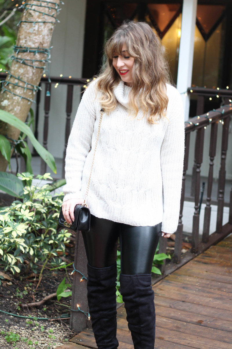Turtlneck sweater, leather leggings and over the knee boots-6