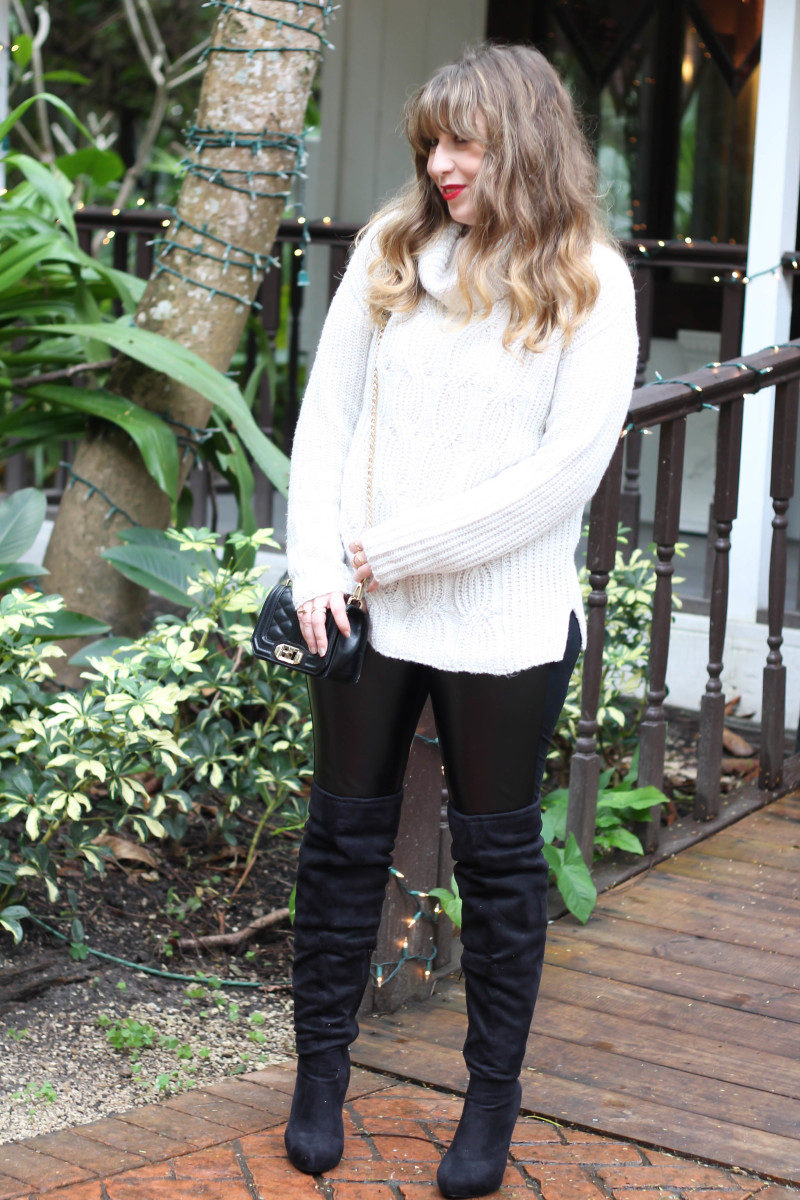 Turtlneck sweater, leather leggings and over the knee boots-7