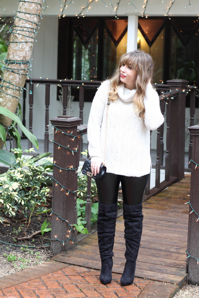 Turtlneck sweater, leather leggings and over the knee boots-8
