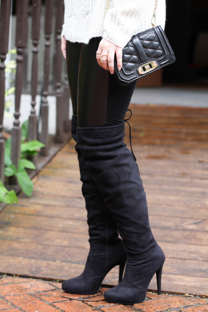 Turtlneck sweater, leather leggings and over the knee boots-9