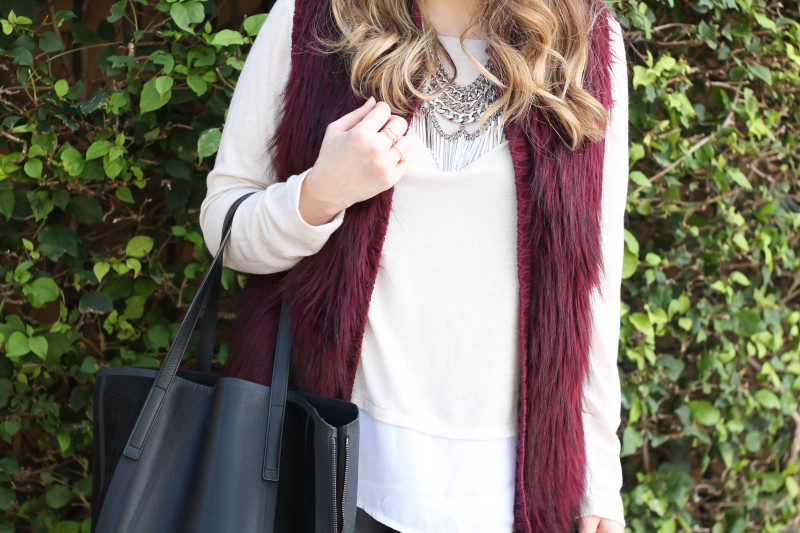 fur vest, layered sweater, leather leggings-11