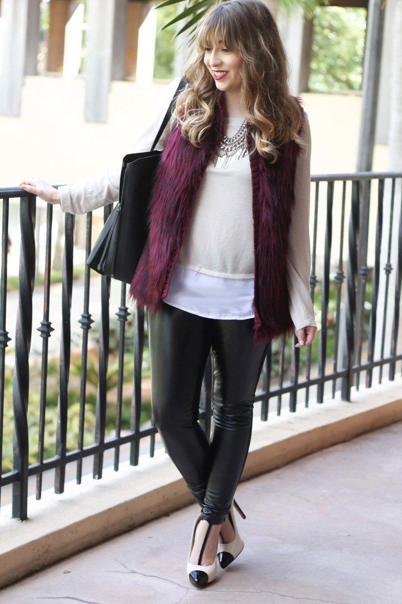 fur vest, layered sweater, leather leggings-2