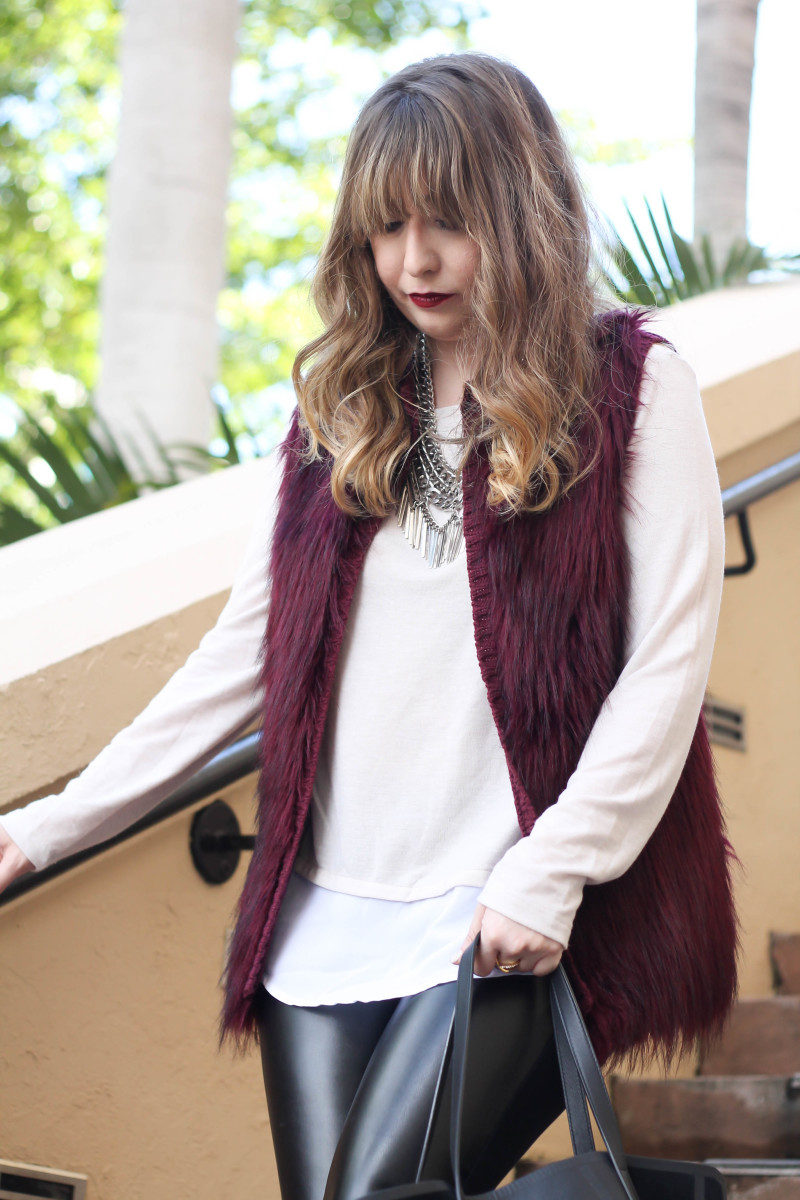 fur vest, layered sweater, leather leggings-6