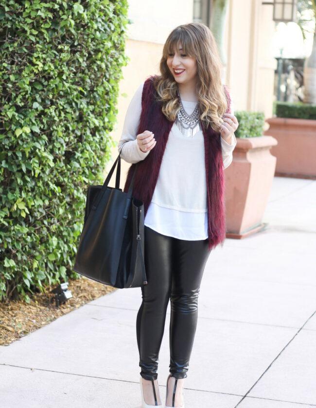 fur vest, layered sweater, leather leggings-7