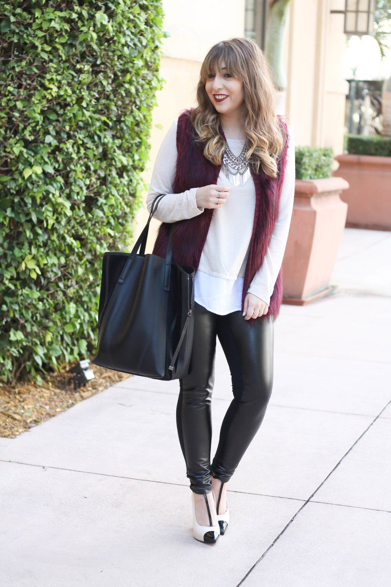 fur vest, layered sweater, leather leggings-8