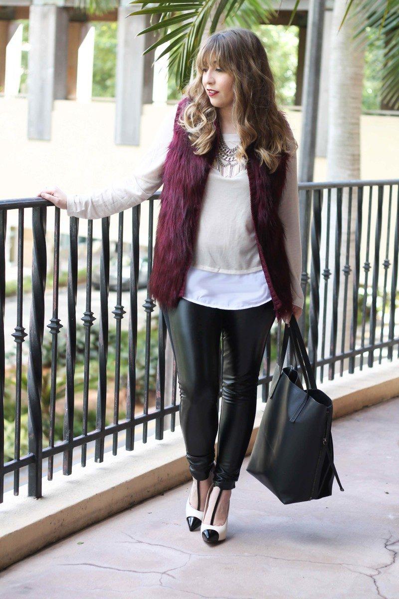fur vest, layered sweater, leather leggings