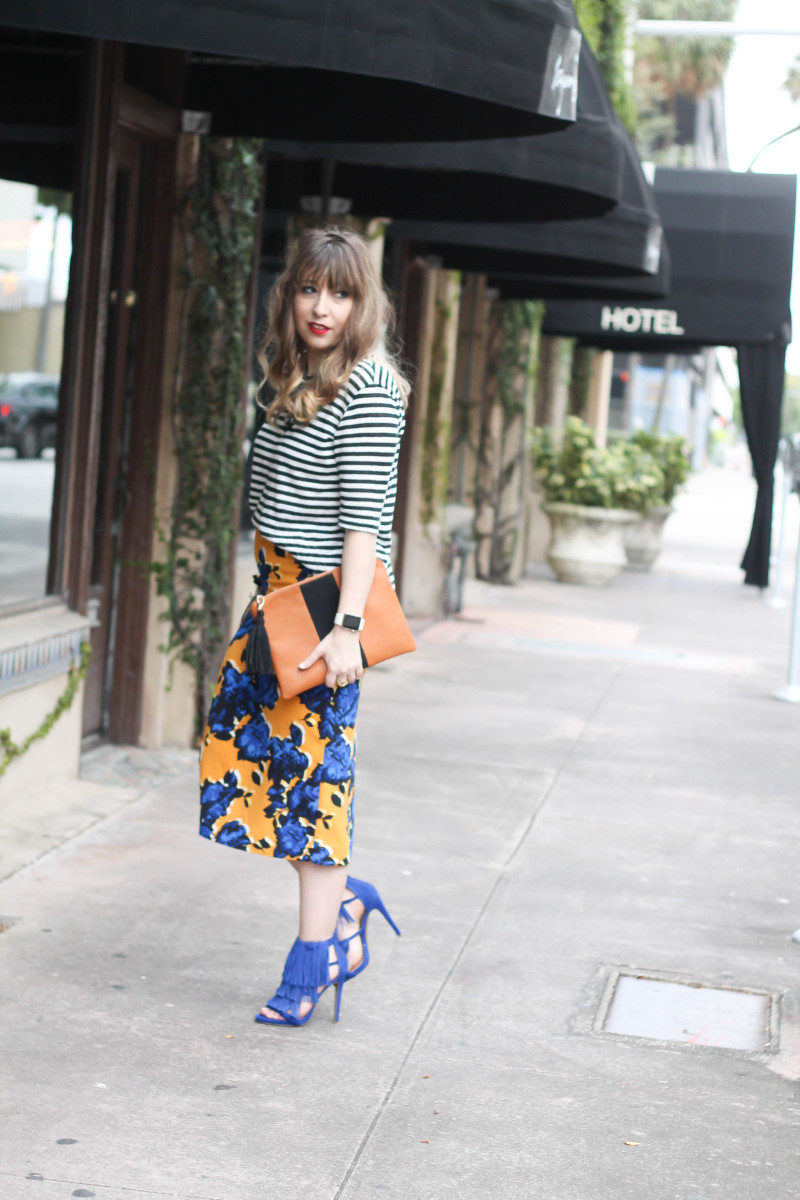 Target Who What Wear stripe tee and floral skirt print mix-2
