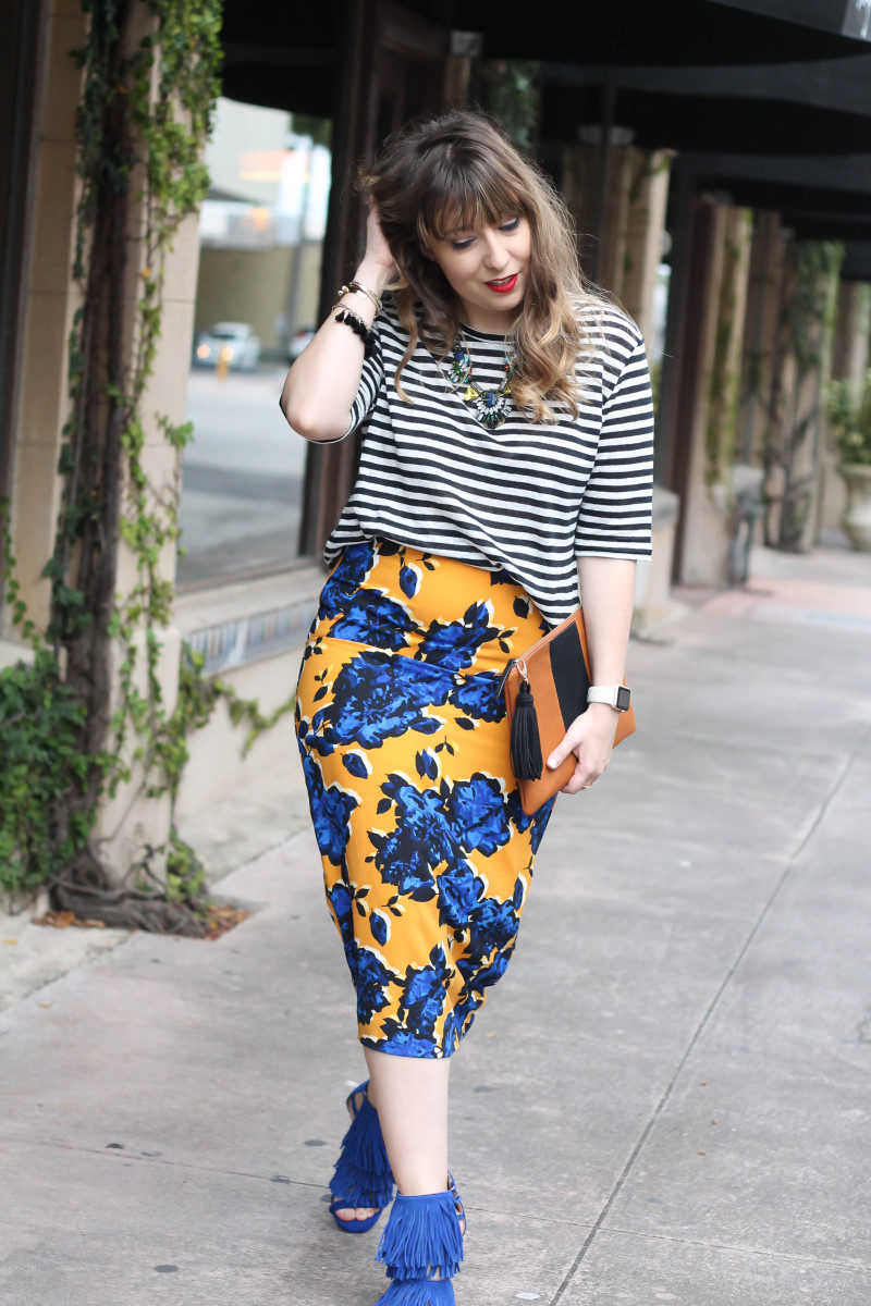 Target Who What Wear stripe tee and floral skirt print mix-3