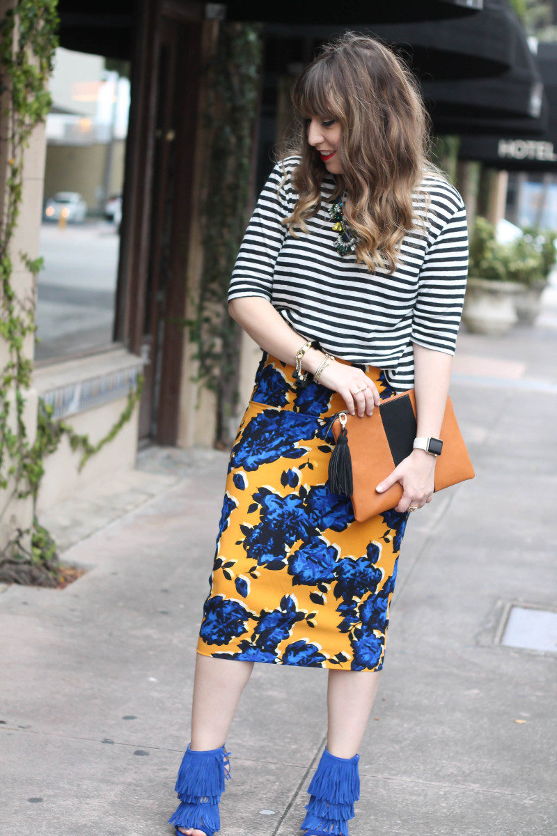 Target Who What Wear stripe tee and floral skirt print mix-4