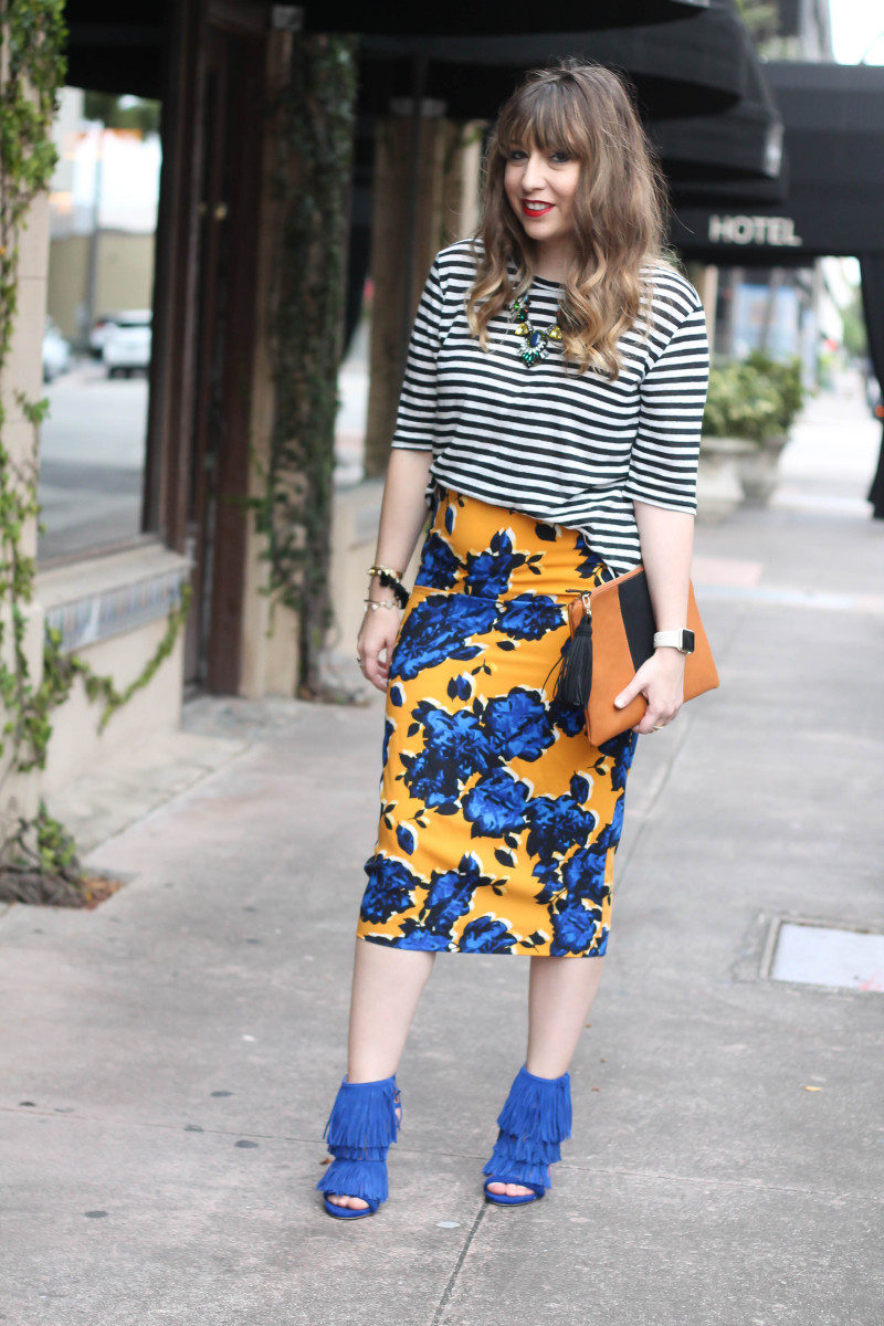 Target Who What Wear stripe tee and floral skirt print mix-5