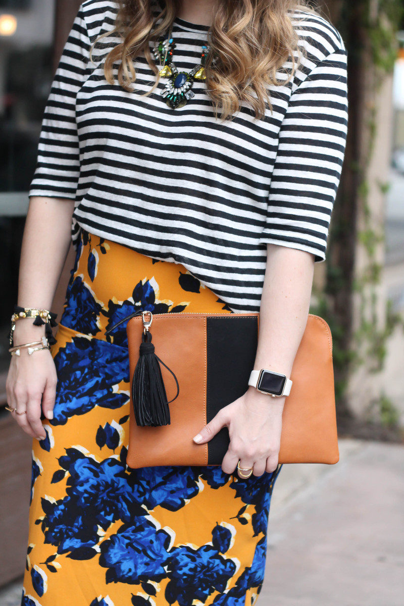 Target Who What Wear stripe tee and floral skirt print mix-6