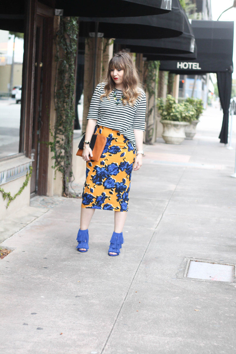 Target  Who What Wear stripe tee and floral skirt print mix