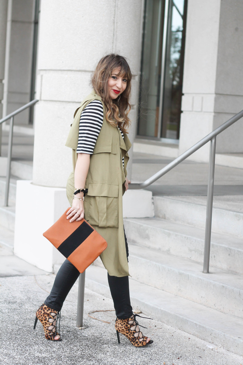 coated skinnies, trench vest, stripe tee