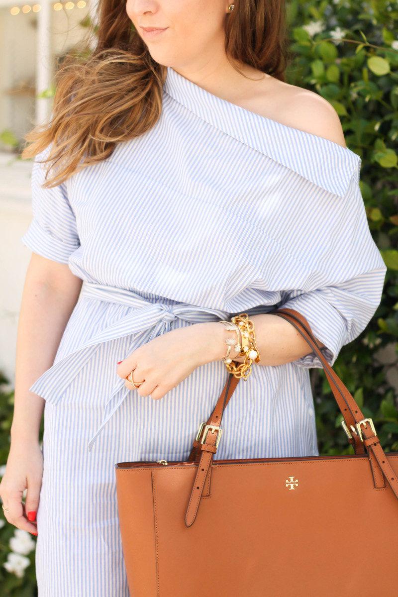 Blue and white stripe shirtdress-10