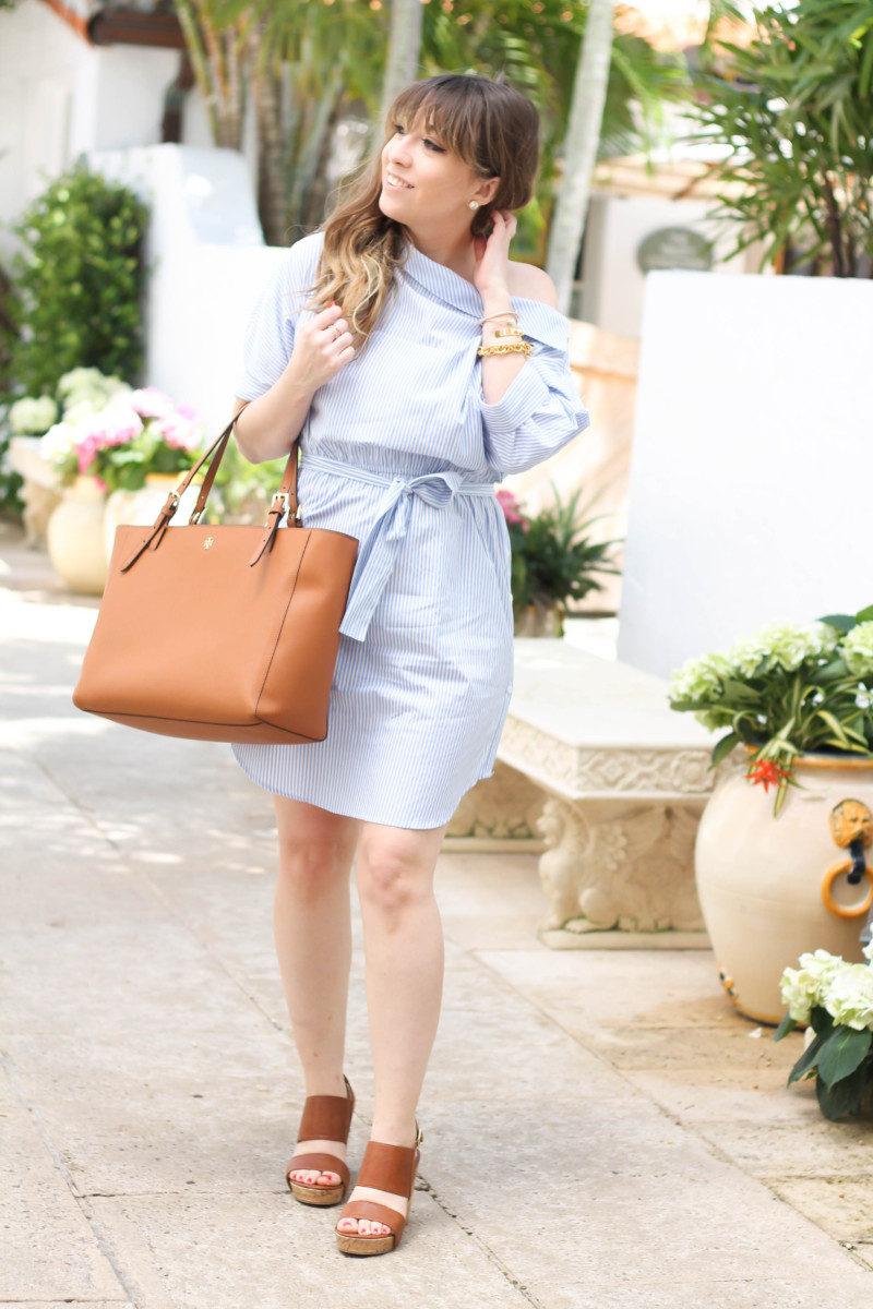 Blue and white stripe shirtdress-4