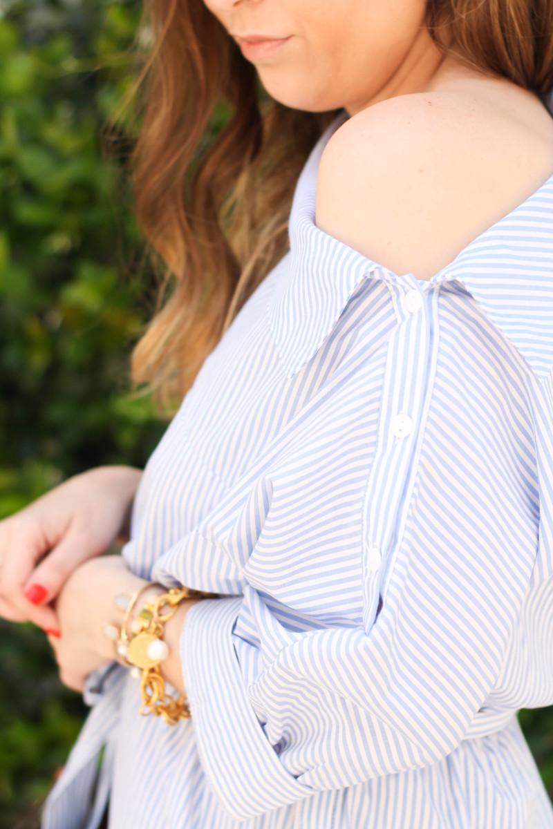 Blue and white stripe shirtdress-6