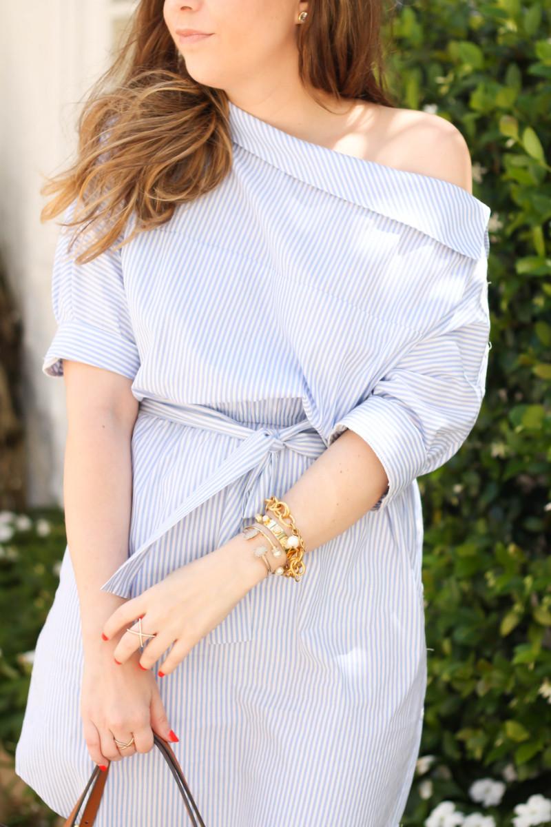 Blue and white stripe shirtdress-9