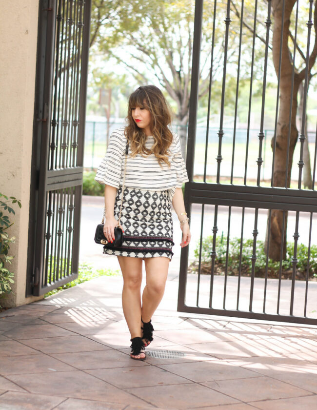 Ruffle sleeve top + printed fringe skirt-2