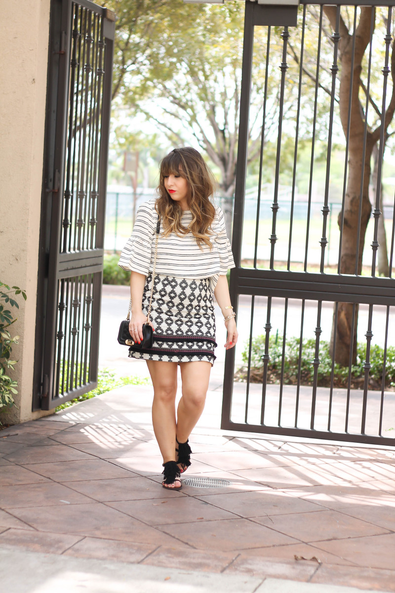 Ruffle sleeve top + printed fringe skirt-2