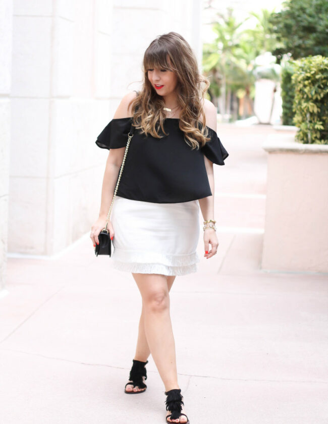 cold shoulder top + fringe skirt-2