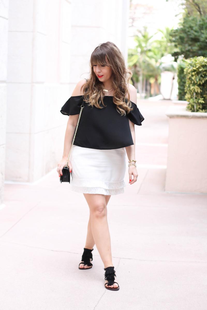 Cold shoulder top + fringe skirt outfit