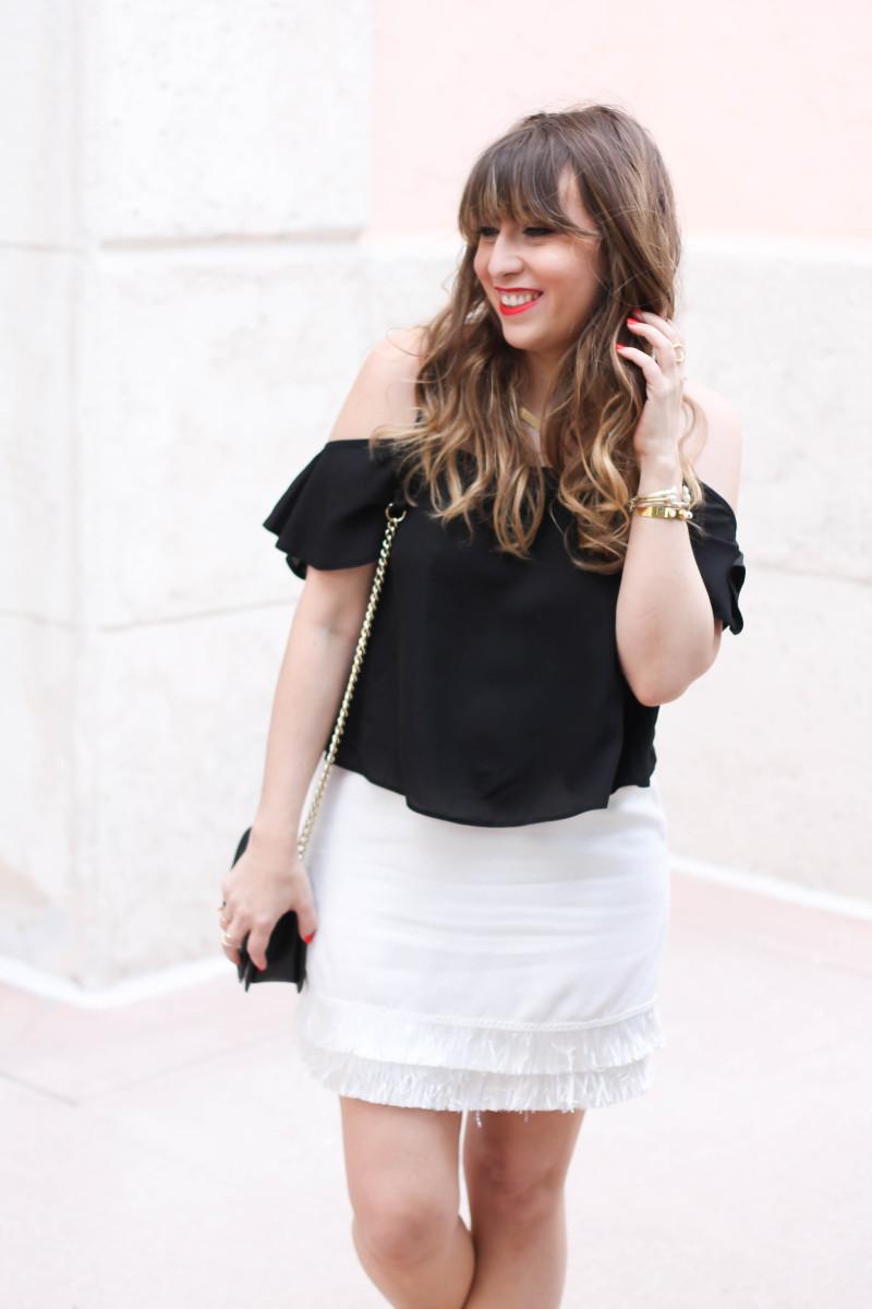 Cold shoulder top + fringe skirt outfit idea