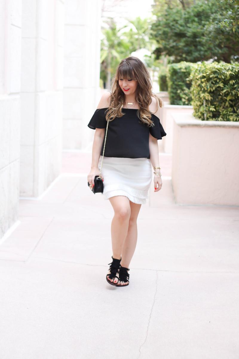 cold shoulder top + fringe skirt + fringe sandals