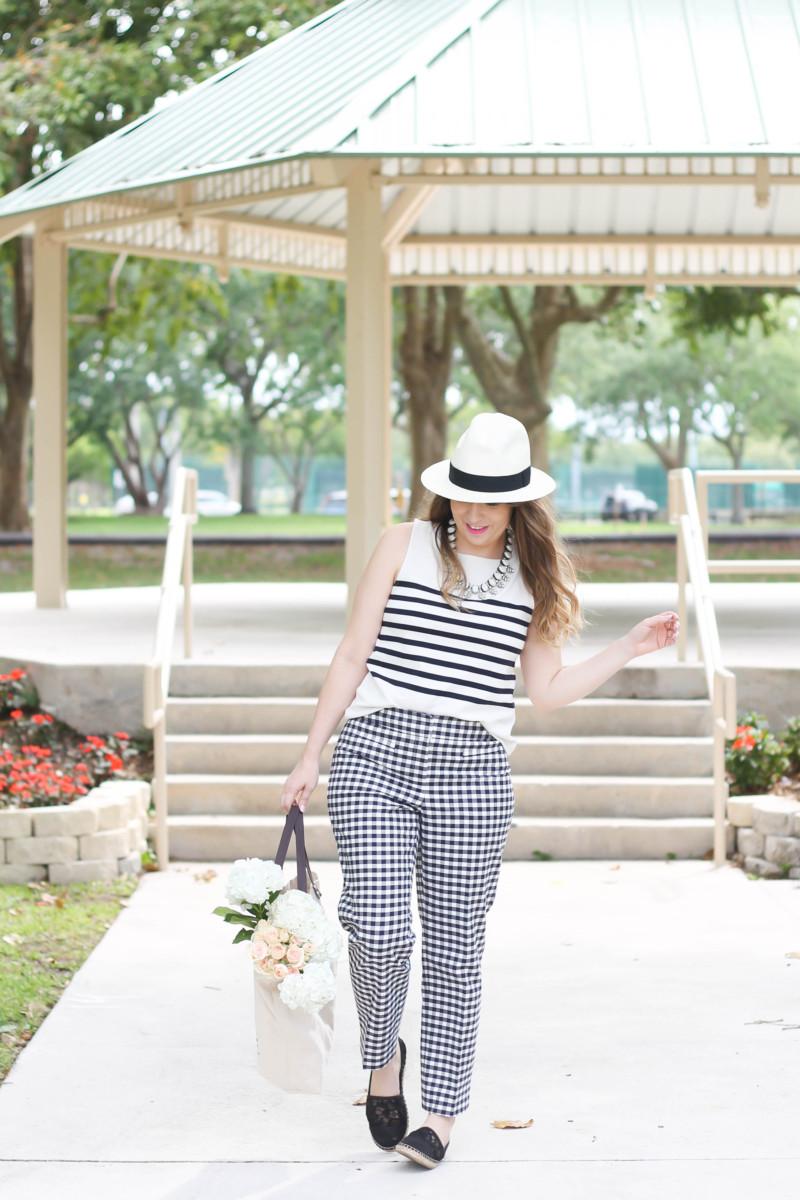 Ann Taylor gingham pants + stripe tank outfit-3
