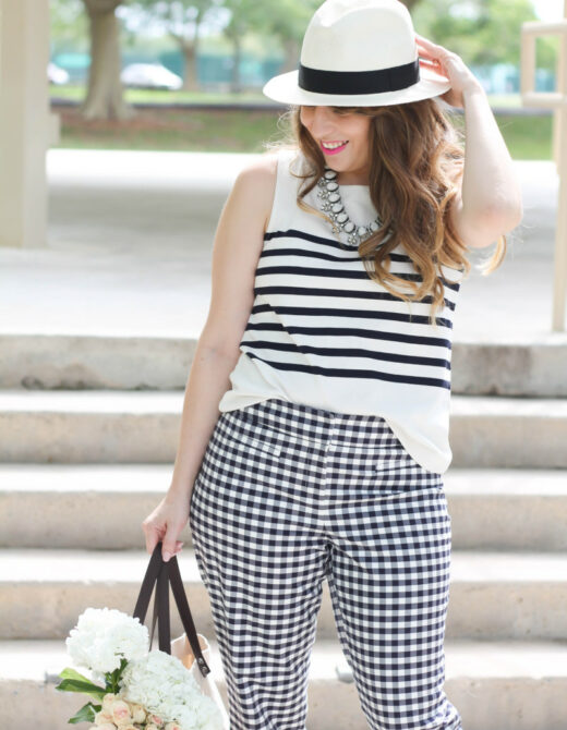 Ann Taylor gingham pants + stripe tank outfit-5