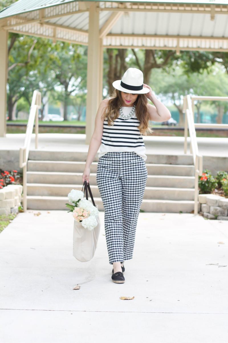 Ann Taylor Kate gingham crop pants + breton stripe tank outfit